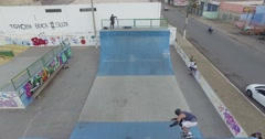 Skate workout filmed by a drone Stock Footage