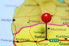 Telsiai pinned on a map of Lithuania Stock Photos