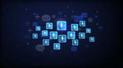 Showing connect people, using communication technology concept graph Stock Footage