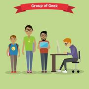 Geek Group Team People Flat Style - stock illustration