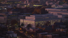 Flying over Capitol Hill landmarks at dusk; Library of Congress, Office of Stock Footage