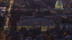 Zoom-out from Capitol Hill to wide view of Washington DC at dusk. Shot in 2011. Stock Footage