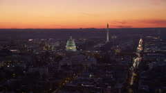 Flying over Capitol Hill at dusk; Library of Congress and Supreme Court Building Stock Footage