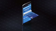 Credit card insert a smartphone, Internet,online payments Stock Footage
