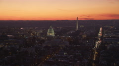 Flying over Capitol Hill at dusk; Library of Congress and Supreme Court Building - stock footage