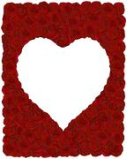 Frame made of red roses with heart-shape place for text - stock illustration