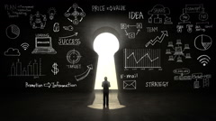 businessman Standing in front of Keyhole, and various graph in black wall - stock footage