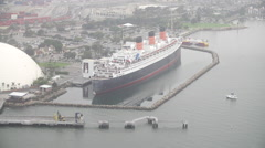 Aerial View Of The Queen Mary Ship Stock Footage