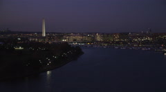 Flying up Potomac River toward Gangplank Marina and Tidal Basin in Washington DC Stock Footage