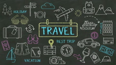 Handwriting concept of 'Travel' at chalkboard. with various diagram. Stock Footage