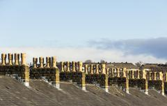 Terraced house roof chimney symmetry Stock Photos