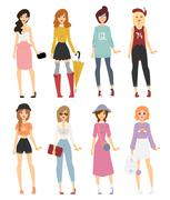 Beautiful vector cartoon fashion girl models look standing over white background - stock illustration