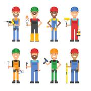 Cartoon workers and other tools under construction vector illustration - stock illustration