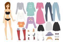 Beautiful vector cartoon fashion girl model constructor  look standing over Stock Illustration