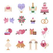 Wedding icon vector set isolated on white background Stock Illustration