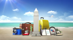 Planing to travel city,summer vacation. symbol of travel, tour, vacation Stock Footage
