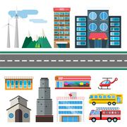 Buildings and city transport flat style illustration - stock illustration
