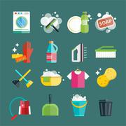Cleaning icons set clean service - stock illustration