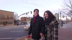 Young Couple Christmas Shops in Small Midwestern Town Stock Footage