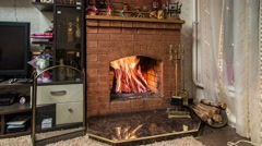 Fireplace in the room, timelapse - stock footage