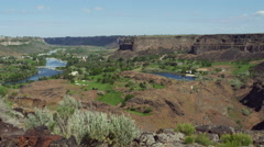 Wide view of the Snake River Canyon near Twin Falls, Idaho - stock footage