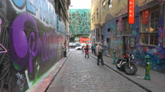 Moving shot of the Hosier Lane in Melbourne, Australia. Stock Footage