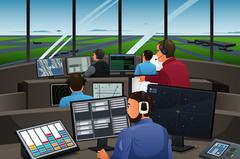 Air Traffic Controller Working in the Airport Stock Illustration