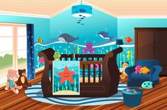 Baby Nursery Room - stock illustration