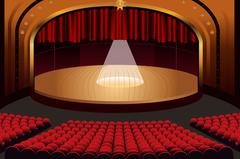 Empty Theater Stage - stock illustration