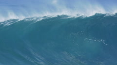 Giant Ocean Wave Breaking in Hawaii. Slow Motion. Surfing Jaws Stock Footage