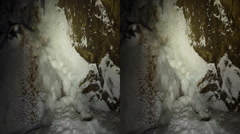 This is a shot of a frozen waterfall. Shot on a gopro hero black plus 3d. Ava Stock Footage