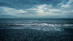 Dramatic Sea And Beach In The Evening Stock Footage