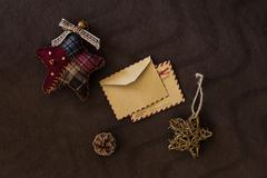 Empty vintage card with christmas decorations Stock Photos