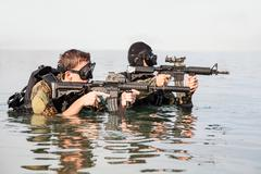 Navy SEAL frogmen - stock photo