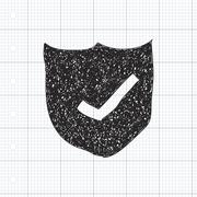Simple doodle of a shield with tick Stock Illustration