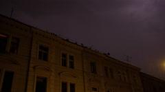 Lightning Arc Rain Prague Storm Buildings - 4k Stock Footage
