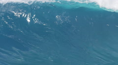 Giant Ocean Wave Breaking in Hawaii. Slow Motion HD. Surfing Jaws - stock footage