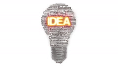 Numerous texts makes bulb light, showing 'IDEA' 3 Stock Footage