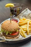 fast food menu with hamburger and glass of cola - stock photo