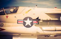 American Jet Fighter with Pilot Closeup Photo. - stock photo