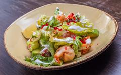 salad with shrimp and caviar - stock photo