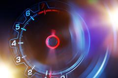 Blurred Revolution Counter Automotive Concept. Stock Photos