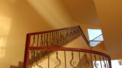 Man climbs up the stairs at the hotel Egypt Stock Footage