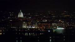 Flying above the Tidal Basin at night, Capitol in background, Jefferson Memorial Stock Footage