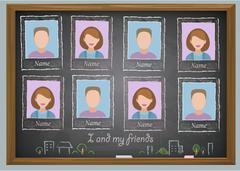 School album yearbook and chalkboard - stock illustration