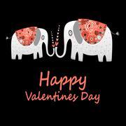 Love elephants greeting Stock Illustration