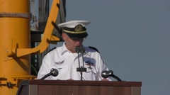 Commander of the Israeli Navy Vice Admiral RAM Rothberg welcomes INS Rahav Stock Footage
