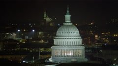 Orbiting the Capitol at night, traffic on Pennsylvania Avenue. Shot in 2011. - stock footage