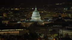 Orbiting the Capitol at night, Cannon House Office Building in left foreground, Stock Footage