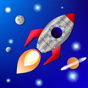 rocket in space - stock illustration